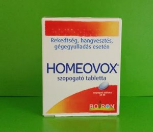 Homeovox tabletta Boiron homeopátia rekedtség