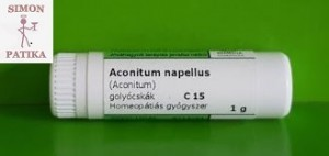 Aconitum napellus C 15 Remedia napégés, napozás